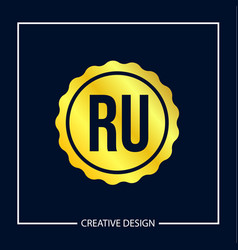 initial letter ru logo template design vector image