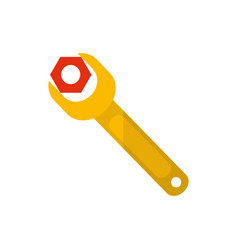 Isolated construction wrench icon flat vector