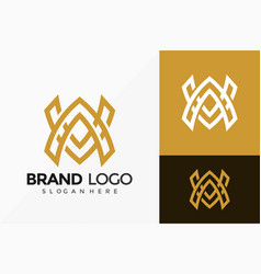 Letter aw brand identity logo design abstract vector