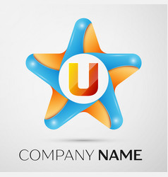 letter u logo symbol in the colorful star on grey vector image