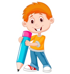 Little boy cartoon with pencil vector