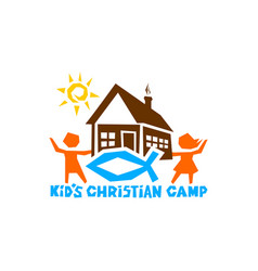 Logo of kids christian camp vector