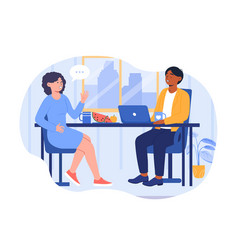 Lunch in office concept vector