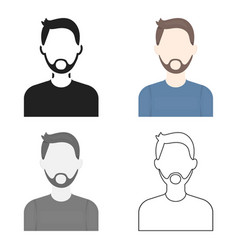 Man with beard icon cartoon single avatarpeaople vector