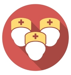 Medical Staff Flat Round Icon with Long Shadow vector image