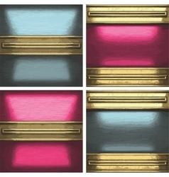 Metal background set with golden element vector