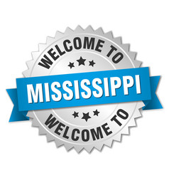 Mississippi 3d silver badge with blue ribbon vector