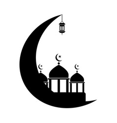 Mosque with crescent and lantern black and white vector