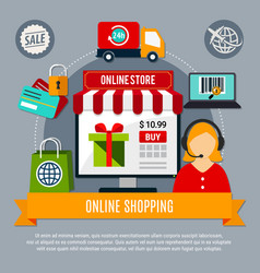 online store composition vector image