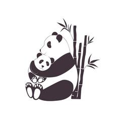 Panda mother hugging baby love between mom vector