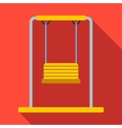Playground swing flat icon vector