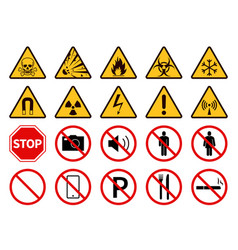 Prohibition and warning signs public safety vector