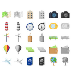 Rest and travel cartoonmonochrom icons in set vector