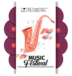 Saxophone instrument to music festival event vector