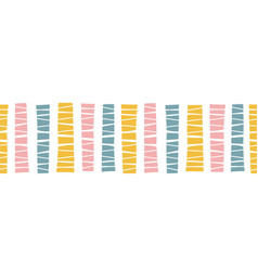 Seamless horizontal border doodle blocks vector