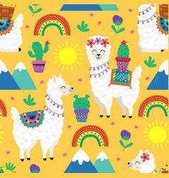 seamless pattern with funny llama and cacti vector image