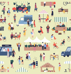 Seamless pattern with people buying and selling vector