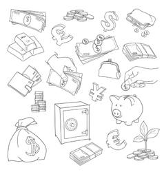 Set doodle money symbol vector