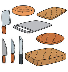 Set of knife and chopping block vector