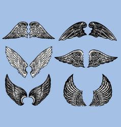 Set various fictional wings vector