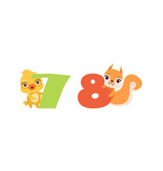 Seven and eight numbers with cute chicken and vector