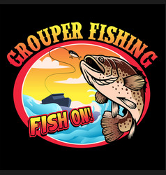 shirt design grouper fishing vector image