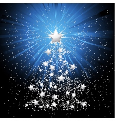 silver Christmas tree and stars vector image vector image