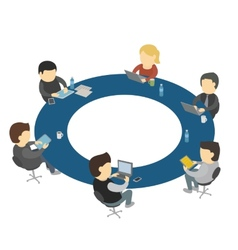 Six cartoon people work sitting round table vector