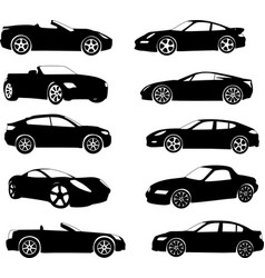 sport cars silhouettes collection vector image