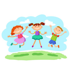Stick kids jumping together vector