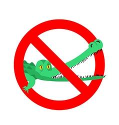 Stop crocodile Prohibited alligator Strikethrough vector