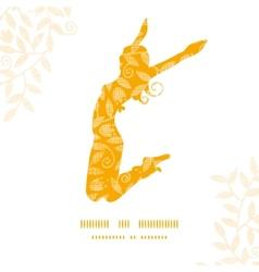 Sunny jumping girl golden leaves pattern vector
