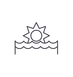 sunset line icon concept sunset linear vector image