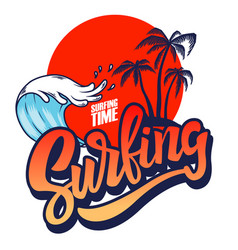 surfing emblem template with waves and palms vector image