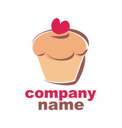sweet retro cupcake bakery logo isolated on white vector image