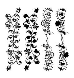 swirl floral black set pattern vector image