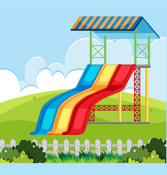 The slide at nature playground vector