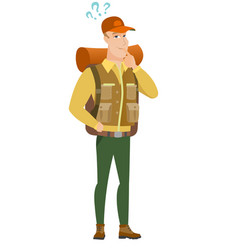 Thinking traveler with question marks vector