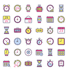 time icons alarm clock hourglass timer and vector image