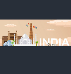 Travel banner to india flat vector