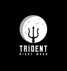 Trident and moon logo design vector