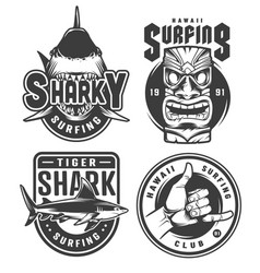 Vintage surfing monochrome emblems vector