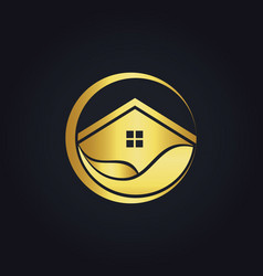 Water house icon gold logo vector