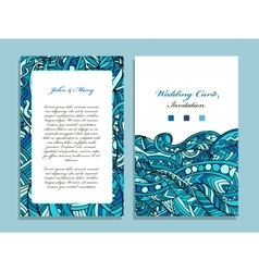 Wedding card template marine design vector image