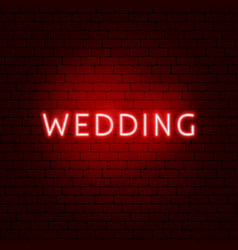 wedding neon sign vector image