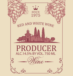 Wine label with rural landscape and grapes vector