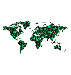 World map pattern leaves tree green color shade vector