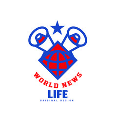 world news life original design logo social mass vector image