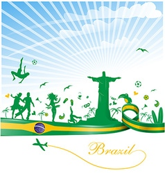 Brazil background with flag and symbol vector