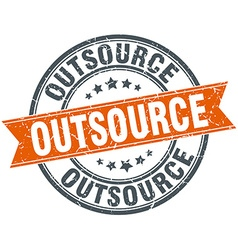 Outsource round orange grungy vintage isolated vector